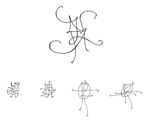 kalligraphierte monogramme kalligraphie hoyer. Black Bedroom Furniture Sets. Home Design Ideas